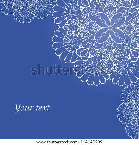 Background with lace ornament and space for your text. Template frame design for card.
