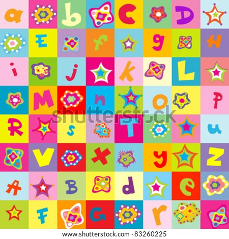 Background with letters and flowers for kindergarten