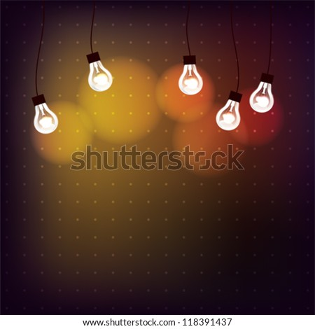 Background with light bulbs and with place for text, EPS10 file with transparent  objects