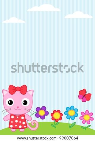 Background with little cat, flying butterflies and flowers