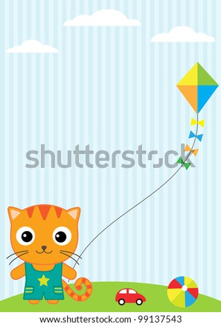 Background with little cat, flying kite and toys
