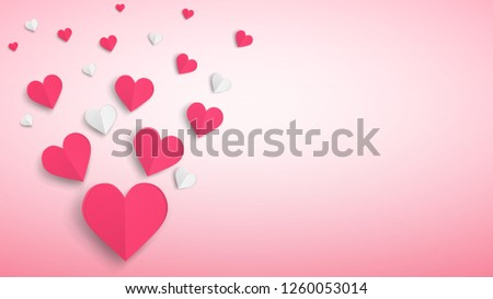 Background with many paper volume hearts, red and white on pink #1260053014