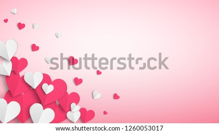 Background with many paper volume hearts, red and white on pink #1260053017