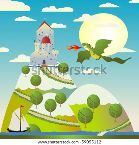 background with medieval castle