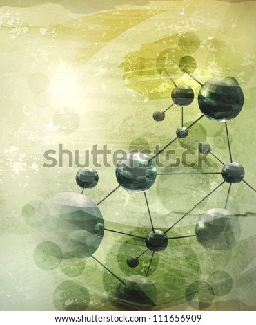 background with molecules green