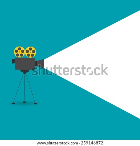 Background with movie projector, vector illustration
