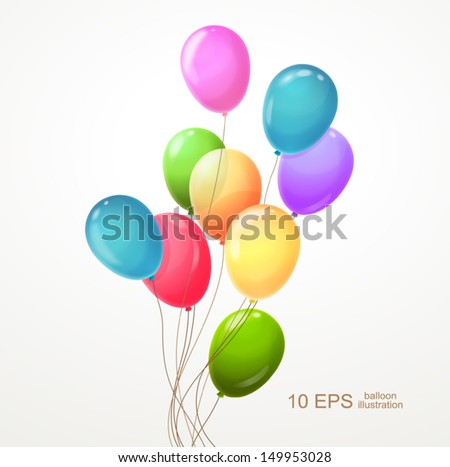 Background with multicolored balloons. Vector 10 EPS.
