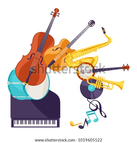Background with musical instruments. Jazz music festival poster.