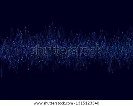 Background with noise from the lines. Fractal noise from blue lines and dots. Vector illustration. #1315123340