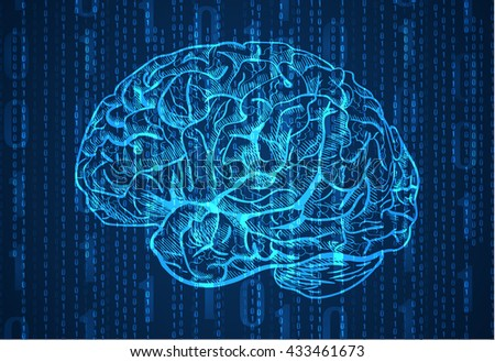 Background with numbers and brain sketch. Abstract blue background. VECTOR.