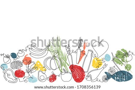 Background with Organic Food. Pattern with Vegetables, fruits, meat and seafood. Continuous drawing style. Vector illustration. Stock foto ©