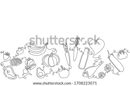 Background with Organic Food.  Pattern with vegetables, fruits, milk, meat and fish. Continuous drawing style. Vector illustration.