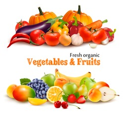 Background With Organic Fresh Vegetables. and Fruits Healthy Food. Vector illustration