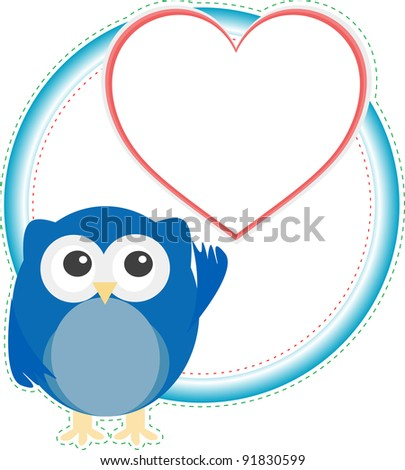 Background with owl ad love heart