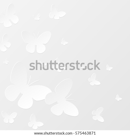 Background with paper butterflies on a white background