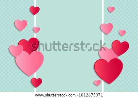 Background with paper cut hearts and copyspace. Valentine's Day, Mother's Day or Women's Day. Vector. #1012673071