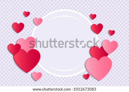 Background with paper cut hearts and copyspace. Valentine's Day, Mother's Day or Women's Day. Vector.