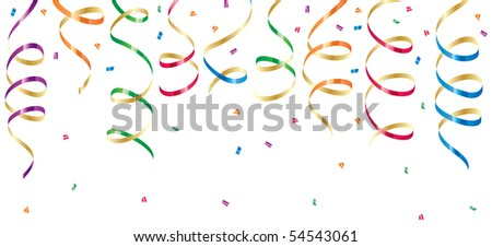 Background with party streamers and confetti, illustration