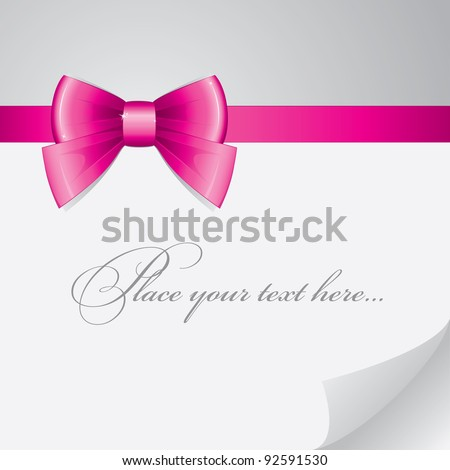 background with pink bow on realistic paper
