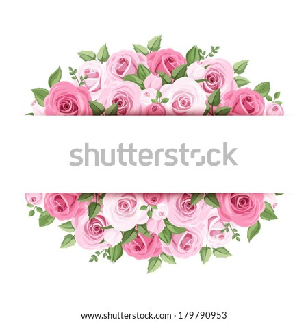Background with pink roses Vector eps-10