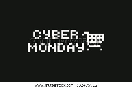 Background with pixel art shopping cart and cyber monday text