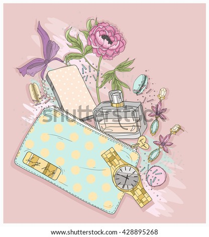 Background with purse, mobile phone, perfume,flower, jewelry and macaroons. Cute illustration for girls or women. cosmetic cosmetic  cosmetic  cosmetic cosmetic cosmetic cosmetic cosmetic cosmetic