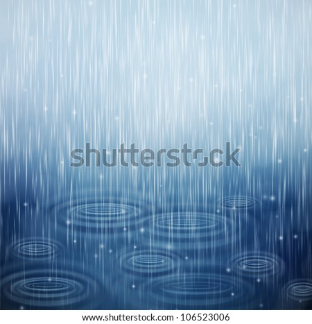 Background with rain and waves on the drops. Eps 10 - stock vector