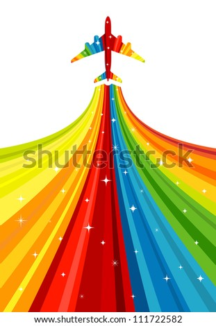 Background with rainbow airplane. Vector illustration.