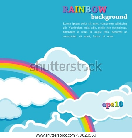 background with rainbow and clouds