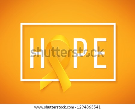 Background with realistic gold ribbon. Hope. World childhood cancer symbol, vector illustration. Template for poster for cancer awareness month.