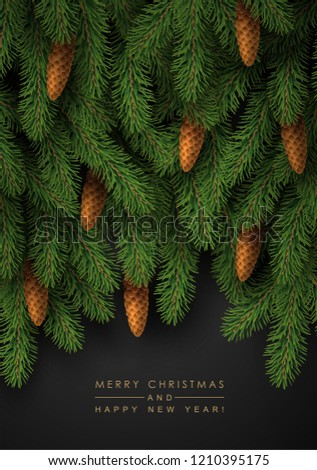 Background with Realistic Looking Christmas Tree Branches and Fir Cones