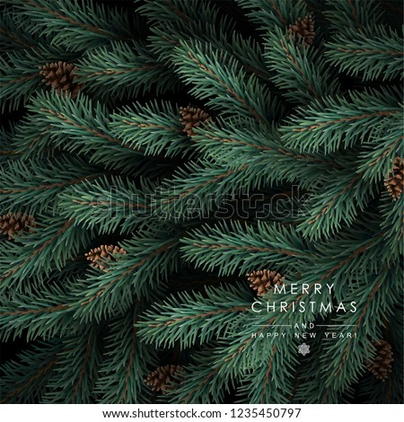 Background with Realistic Looking Christmas Tree Branches and Fir-cones.