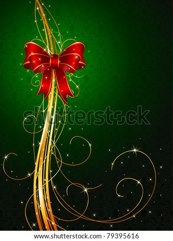 Background with red bow and tinsel, illustration