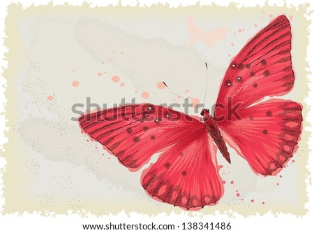 Background with red butterfly in watercolor technique All objects are isolated Butterfly is on a separate layer