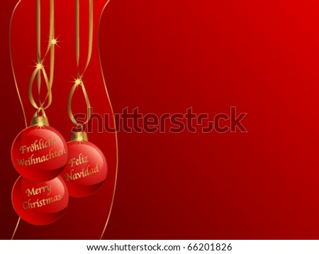 Background with red Christmas balls
