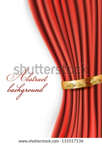 Background with red curtains and golden ring