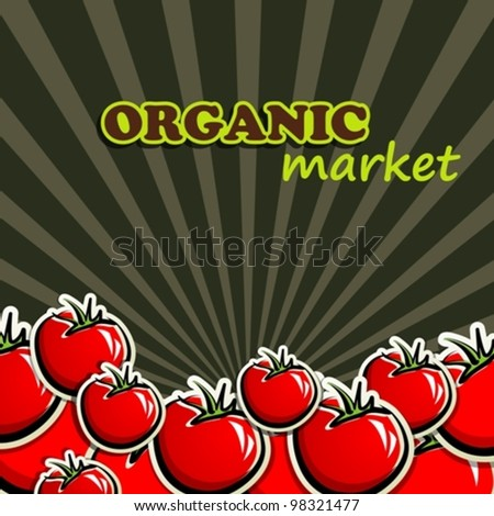 background with red tomatoes - stock vector