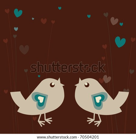 Background with retro-bird in love