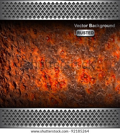 Background with rusted metal texture, vector.