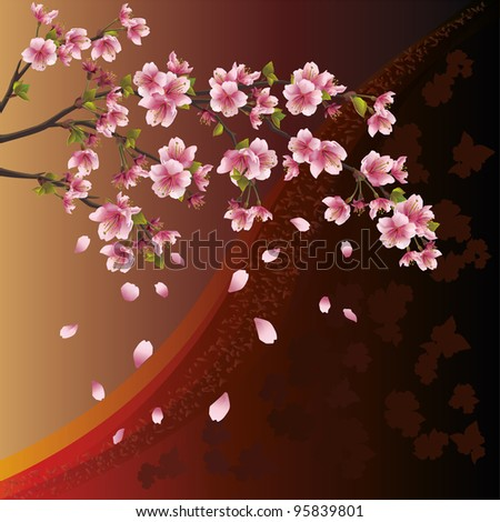 Background with sakura blossom - Japanese cherry tree and pattern