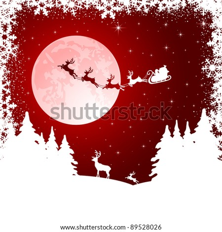 Background with Santa's sleigh, Christmas tree and deer, illustration