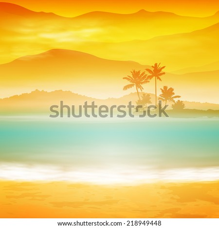 background with sea and palm