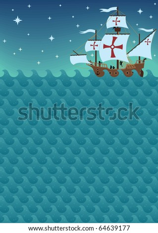 Background with sea waves and sail ship. A4 proportions. The picture is also a seamless pattern and you can multiply it horizontally.