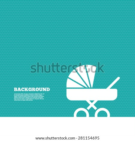 Background with seamless pattern. Baby pram stroller sign icon. Baby buggy. Baby carriage symbol. Triangles green texture. Vector