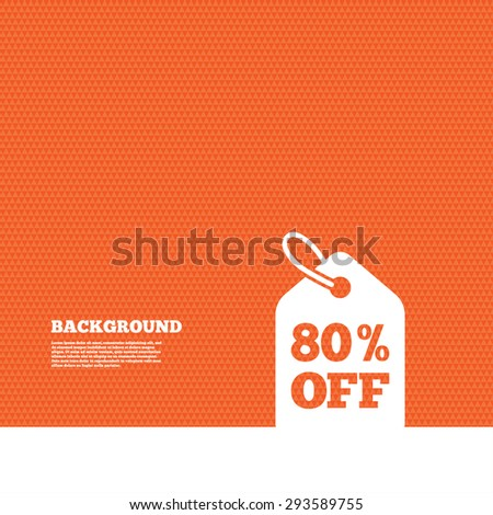 Background with seamless pattern. 80% sale price tag sign icon. Discount symbol. Special offer label. Triangles orange texture. Vector