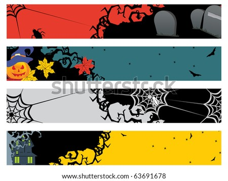 background with set of four halloween banner, illustration