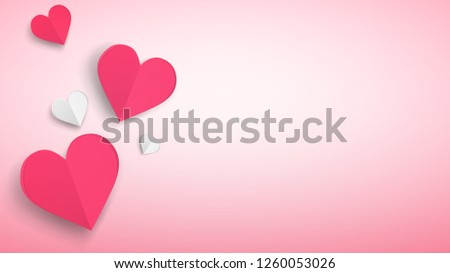 Background with several paper volume hearts, red and white on pink #1260053026