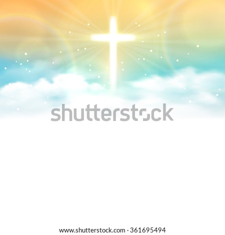 Background with shining ?ross and heaven with white clouds. Vector illustration, eps10.
