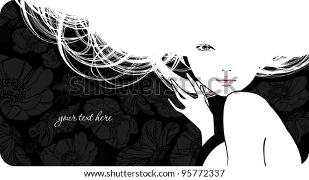 Background with silhouette beautiful girl