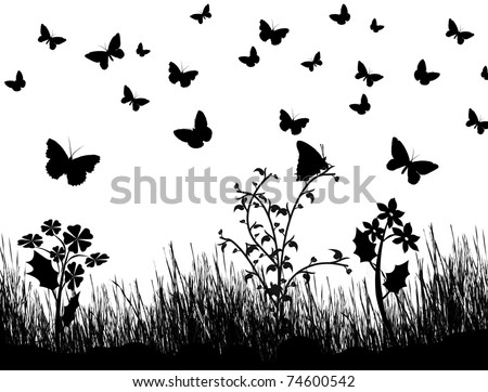 Background with silhouettes of butterflies, flowers and grass, vector illustration